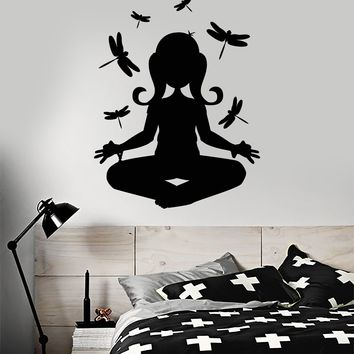 Wall Decal Teen Girl Dragonflies Buddhist Meditation Yoga Vinyl Stickers Unique Gift ig2809