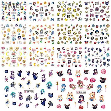 SWEET TREND 12 Designs In One Set Colorful Cut Cartoon Girl Nail Tips Watermark Stickers Temporary Tattoo DIY Decal BEBN457-468