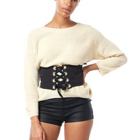 Lace-Up Grommets Corset Belt