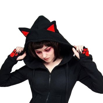 High Quality Autumn Women Cat Ears Hoodies Female Casual Hoodies Long Sleeve Black Hoody Drop Shipping