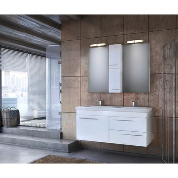 """DP Wall Bath Vanity Cabinet Set 47.2"""" Double Sink W/ White Gloss Lacquer Finish"""