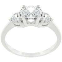 Oval Serenade Triplet Ring In Silvertone Finish, size : 09