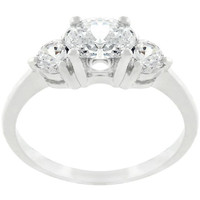 Oval Serenade Triplet Ring In Silvertone Finish, size : 05