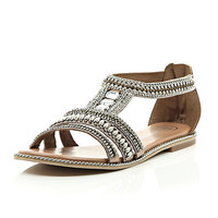 River Island Womens Pink leather bead and gem sandals