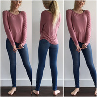 Long Sleeve Dreamy Top in Mauve