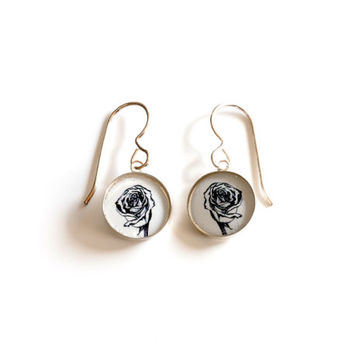 Small resin rose earrings with mini rose flower drawings set inside small sterling silver circles bezals , simple black & white rose jewelry