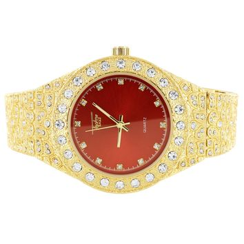 Men's 14k Gold Finish Red Face Iced Out Nugget Band Watch