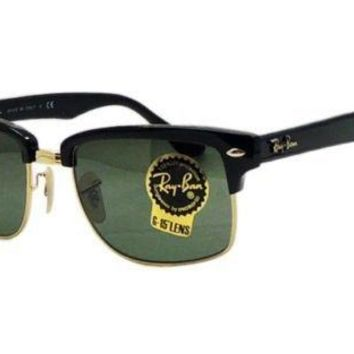 NEW Ray Ban Sunglases RB4190 CLUBMASTER SQUARE 4190 Black Frame Green G-15 Lens