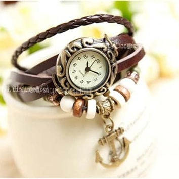leather anchor watch, leather band wrist watch, women wrist watches with vintage ,anchor, Leather watch bracelet