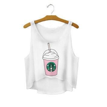 650d3c07fd4381 Women s Starbucks Coffee Cup Cute Sexy Girl Cropped Sports Summe