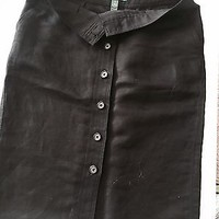 EUC Ralph Lauren Black Button Up Knee Length Skirt Size 2