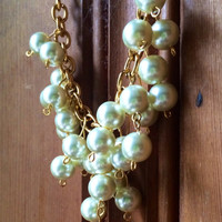 Pearl Cluster Statement Necklace on Chunky Gold Chain