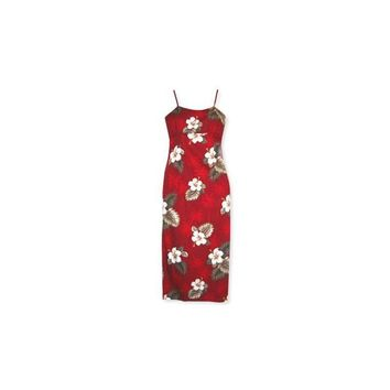 Lava Red Long Hawaiian Skinny Strap Floral Dress