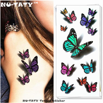 Nu-TATY Amazing Butterfly 3d Temporary Tattoo Body Art Flash Tattoo Stickers 19*9cm Waterproof Tatoo Home Decor Wall Sticker