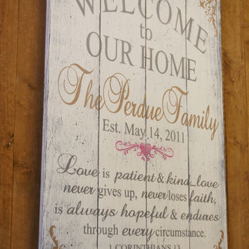 Welcome To Our Home Love Is Patient Pallet Sign Wedding Gift Anniversary Gift Christian Home Decor Wall Art Handpainted Shabby Chic Decor