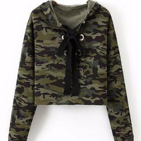 Camo Lace Up Pullover Sweatshirt