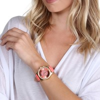 Coral Glitter Face Watch