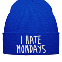 I HATE MONDAYS EMBROIDERY HAT - Beanie Cuffed Knit Cap