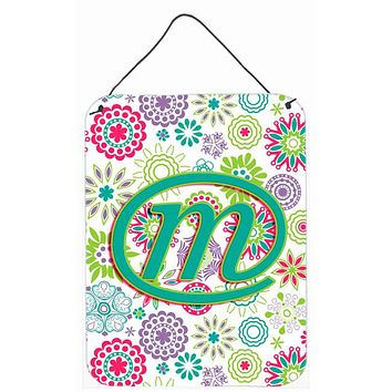 Letter M Flowers Pink Teal Green Initial Wall or Door Hanging Prints CJ2011-MDS1216