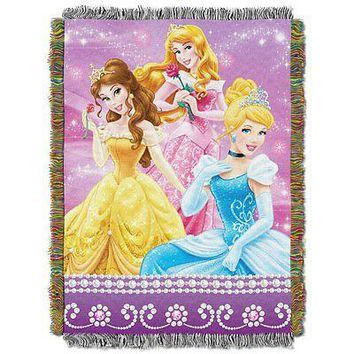 Disney Princess Sparkle Dreams 48x60 Woven Tapestry Throw FREE US SHIPPING
