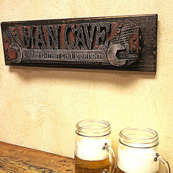 Rustic Man Cave Sign, Wall Decor ,Garage Decor, Wood, Husband Gift, Christmas Gift, Anniversay, Man Cave Decor, Gift for Dad, Groomsmen Gift
