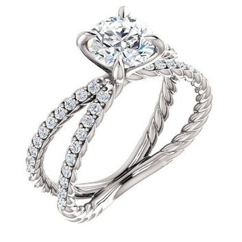 Split cable Shank Criss Cross Engagement Ring With Pave Diamonds