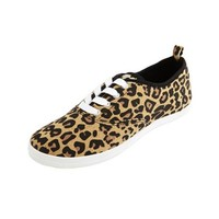 Leopard Canvas Lace-Up Sneaker: Charlotte Russe
