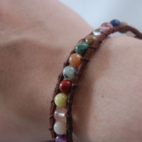 Colorful Stone and Leather Wrap Bracelet by BeYouTiFuLbyLindZ