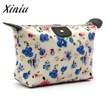 1PC Women Travel Make Up Cosmetic Pouch Bag Clutch Vintage Floral Printed Zipper Handbag Ladies Casual Purse Cosmetic Bags