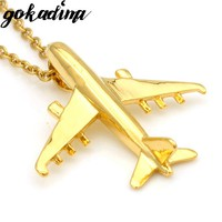 Gokadima, Fashion 2017 New Women Airplane Pendant Necklace Gold Color Stainless Steel Aircraft Men Jewelry WP1967