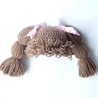 Cabbage Patch Kid Hat Crochet PATTERN for sizes Baby through Adult Crochet Girl Hat Pattern Child Hat Pattern How To Make Doll Wig Pattern