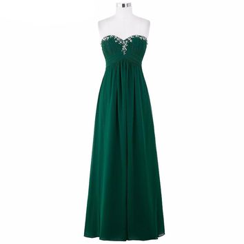 Elegant Green Evening Dresses Long Formal Gown Chiffon Prom Dresses Sexy Black Purple Royal Blue Evening Gown Dress
