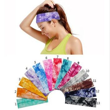 1pcs 2 inch Tie Dye Cheetah Forest Tree Chevron Zebra Cotton Stretch Headbands Sports Girl Hair Bands Bandage Gum Turban Bandana