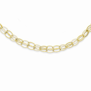 14K Yellow Gold Double Strand Oval Links Necklace
