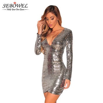 2016 Autumn Rose Gold Long Sleeve Sequin Dress Bodycon Dress Lady Sexy Bandage Slim Mini Club Wear Eveing Short Party Dress