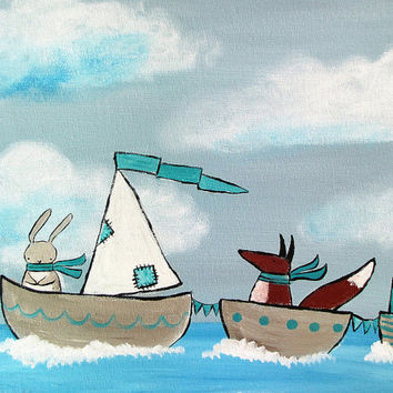 Sailboat Painting, Storybook Kids Wall Art, Nursery Decor, Sailing the Ocean Blue by Andrea Doss