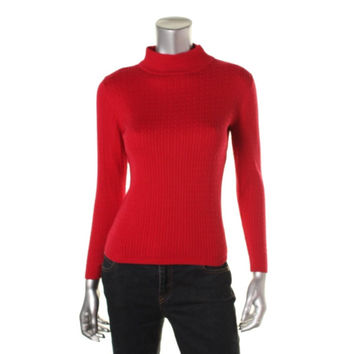 Karen Scott Womens Petites Cable Knit Ribbed Trim Pullover Sweater