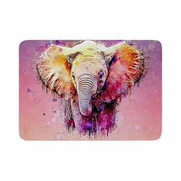 "Ancello ""Watercolor Elephant"" Purple Orange Digital Memory Foam Bath Mat"