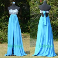 Sweetheart Blue Chiffon Sleeveless Floor-length Prom Dress, Homecoming Dress With Bow