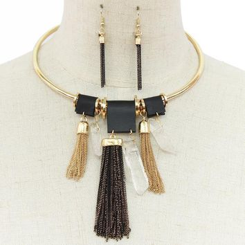 """16"""" gold tassel fringe natural stone choker necklace 2"""" earrings faux leather"""