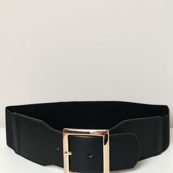 Wide Elastic Buckle Belt Black