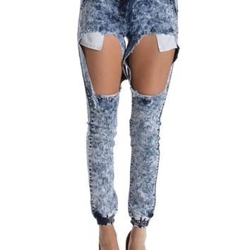 Women's Torn Acid Wash Denim Jogger Pants RJJ316 - D3E