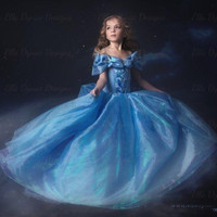 In stock 2015 cinderella dresses baby girls prom dress children party tutu skirts with butterfly kids ball gown girl birthday clothing wear
