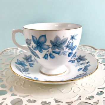 Blue Queen Anne Teacup and Saucer, English Teacups,Tea Cups Vintage Bone China Cup and Saucer, Tea Set, Baby Boy Shower Tea Party Gift