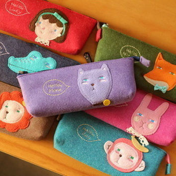 Cute Kawaii Cartoon Felt Pencil Case Cat Fox Rirl Animal Zipper Pen Bag for Girl Kids Gifts Korean StationeryFree shipping 131