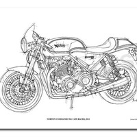 NORTON COMMANDO 961 Cafe Racer 2011 -Original Handmade Drawing Print, 11.5x16 in. (29x41 cm), Limited Edition print, cool gift