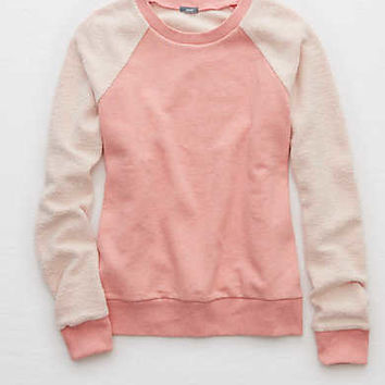 Aerie Inside-Out Sweatshirt, Preppy Pink