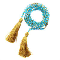 Blue Crystal Knotted Tassel Necklace