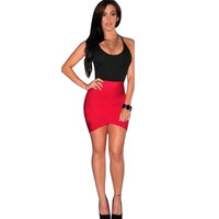 Womens Sexy Dresses Party Night Club Dress Ladies Casual Bodycon Bandage Sleeveless Short Slim Mini Dress vestidos IWY66