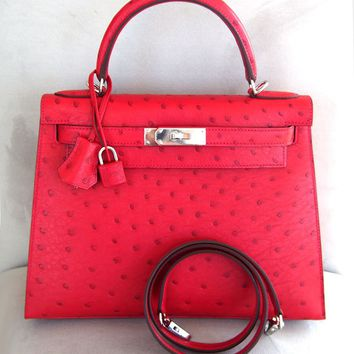 Gorgeous New Authentic Hermes 28cm Kelly Sellier VIF Rouge Ostrich Bag PHW